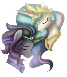 Size: 498x574 | Tagged: artist:kimmyartmlp, bust, celestibra, female, good king sombra, king sombra, male, princess celestia, safe, shipping, simple background, straight, transparent background