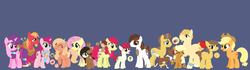 Size: 2948x828 | Tagged: apple bloom, applejack, artist:paint-pot, baby, baby pony, base used, big macintosh, blue background, carajack, caramel, female, fluttermac, fluttershy, licking, male, oc, oc:acorn, oc:apple buck, oc:apple cider, oc:apple patch, oc:apple slice, oc:butterfly, oc:cinnamon apple, oc:sweet apple, oc:toffee apple, offspring, older, parent:apple bloom, parent:applejack, parent:big macintosh, parent:caramel, parent:fluttershy, parent:pipsqueak, parents:carajack, parents:fluttermac, parents:pipbloom, parents:sugarmac, parents:troubleshy, parent:sugar belle, parent:troubleshoes clyde, pipbloom, pipsqueak, pony, safe, shipping, simple background, straight, sugar belle, sugarmac, tongue out, winona