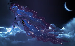 Size: 2560x1600 | Tagged: alicorn, artist:nemesis360, artist:nightbronies, beautiful, cloud, crescent moon, dead source, edit, ethereal mane, female, flying, mare, moon, night, pony, princess luna, profile, safe, solo, starry mane, starry night, stars, vector, wallpaper, wallpaper edit