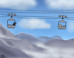 Size: 2557x2010 | Tagged: artist:the-furry-railfan, cloud, cloudy, glasses, male to female, mountain, mountain range, oc, oc:night strike, oc only, oc:parchment bleach, oc:pretty paper, ropeway conveyor, rule 63, safe, scared, screaming, story included, surprised, this will end in balloons