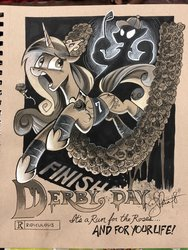 Size: 1536x2048 | Tagged: safe, artist:andypriceart, princess cadance, alicorn, crown, female, horror movie, jewelry, movie poster, regalia, solo, traditional art