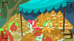 Size: 1440x806   Tagged: safe, screencap, apple cinnamon, apple dumpling, apple leaves, candy apples, earth pony, pony, apple family reunion, apple family member, apple fritter (food), background pony, exhausted, female, food, male, mare, stallion