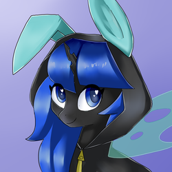 Size: 1000x1000   Tagged: safe, artist:rosefluffdraws, oc, oc only, oc:blue visions, changeling, blue changeling, bunny ears, bust, changeling oc, clothes, commission, costume, cute, dangerous mission outfit, female, heart eyes, hoodie, insect wings, looking at you, portrait, simple background, smiling, solo, transparent wings, wingding eyes