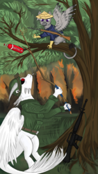 Size: 2160x3840 | Tagged: safe, artist:silviawing, oc, oc:aeks (flayg) daar karus, dragon, griffon, assault rifle, cigarette, fire, forest, gun, helmet, jungle, m16, military, military uniform, napalm, purple eyes, red eyes, rifle, smoking, soldier, stick, tree, vietnam, vietnam flashback, vietnam war, vietnam war series, war, weapon, white skin