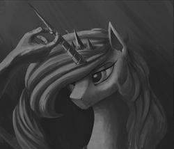 Size: 1307x1117 | Tagged: safe, artist:xxkrutoy, princess celestia, human, grayscale, horn ring, implied anon, marriage, monochrome, ring, wedding ring