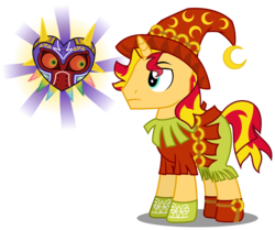 Size: 4060x3399 | Tagged: artist:sketchmcreations, clothes, costume, majora's mask, nightmare night costume, nintendo, pony, rule 63, safe, simple background, skull kid, sunset glare, sunset shimmer, the legend of zelda, transparent background, unicorn, vector