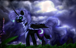 Size: 1580x1010 | Tagged: safe, artist:raychelrage, nightmare moon, alicorn, insect, pony, armor, canterlot castle, cutie mark, ethereal mane, fangs, female, helmet, looking at you, mare, moon, night, shooting star, solo, starry mane, starry night