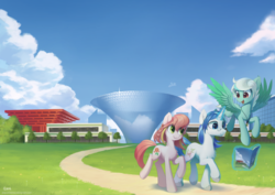 Size: 1024x727 | Tagged: artist:draconidsmxz, building, china, china ponycon, cloud, convention, earth pony, female, glasses, grass, jewelry, magazine, magic, male, mare, necklace, oc, oc:breeze swirl, oc:dr. tea, oc only, oc:peony flair, open mouth, pegasus, pony, prance and party, safe, shanghai, sky, smiling, stallion, tree, unicorn