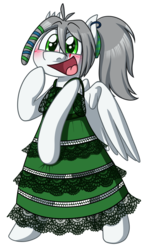 Size: 1290x2147 | Tagged: safe, artist:alittleofsomething, oc, oc only, oc:umbra winterdance, pegasus, pony, bipedal, blushing, clothes, dress, female, mare, open mouth, simple background, solo, transparent background