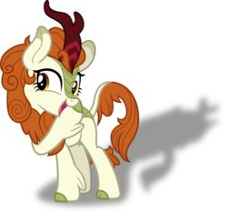 Size: 3096x2892   Tagged: safe, artist:frownfactory, autumn blaze, silhouette gloom of the sundown lands, kirin, sounds of silence, .svg available, cloven hooves, colored hooves, female, horn, mare, shadow, simple background, solo, svg, transparent background, vector