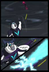 Size: 4750x7000 | Tagged: safe, artist:chedx, storm king, tempest shadow, comic:the storm kingdom, my little pony: the movie, absurd resolution, alternate history, alternate timeline, alternate universe, comic, magic, parallel universe, staff, the bad guy wins, throwing