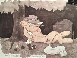 Size: 1280x968 | Tagged: safe, artist:airfly-pony, applejack, earth pony, pony, apple, armpits, chest fluff, cowboy hat, crossed legs, ear fluff, female, food, hat, hat over eyes, hidden eyes, inktober, inktober 2018, mare, monochrome, on back, rcf community, sketch, sleeping, solo, traditional art, tree, under the tree