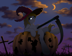 Size: 1333x1037 | Tagged: artist:rexiwiksi, cloud, cloudy, commission, crescent moon, earth pony, glowing eyes, grass, graveyard, halloween, hat, holiday, male, moon, nightmare night, oc, oc:hickory switch, pony, pumpkin, safe, scythe, solo, stallion, witch hat, ych result