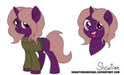 Size: 7472x4500 | Tagged: safe, artist:showtimeandcoal, oc, oc:violet light, pony, unicorn, absurd resolution, clothes, commission, female, mare, movie accurate, reference, reference sheet, simple background, solo, style, sweater, transparent background, ych result