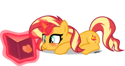 Size: 4000x2126 | Tagged: artist:orin331, blushing, book, cute, cutie mark, female, glowing horn, levitation, magic, magic aura, mare, pony, reading, safe, shimmerbetes, simple background, smiling, sunset shimmer, sunset shimmer day, telekinesis, transparent background, unicorn