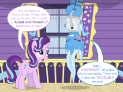 Size: 8000x6000   Tagged: safe, artist:ithinkitsdivine, starlight glimmer, trixie, pony, unicorn, absurd resolution, blushing, bondage, chains, desperation, dialogue, duo, duo female, eyes closed, female, fetish, gritted teeth, hanging, hanging upside down, need to pee, need to poop, omorashi, plot, potty emergency, potty time, show accurate, straitjacket, suspended, sweat, this will end in tears, tied up, trixie's wagon, upside down