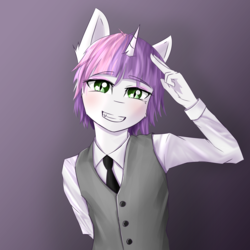 Size: 3000x3000 | Tagged: safe, artist:shimmi, sweetie belle, anthro, unicorn, blushing, clothes, femboy, male, necktie, rule 63, shirt, silver bell, solo, stallion, trap, vest