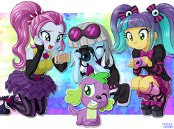 Size: 1082x800 | Tagged: safe, artist:uotapo, edit, editor:slayerbvc, photo finish, pixel pizazz, spike, violet blurr, dog, equestria girls, rainbow rocks, accessory-less edit, blushing, camera, cellphone, cute, missing accessory, one eye closed, paws, phone, smartphone, smiling, spikabetes, spike the dog, the snapshots, wink