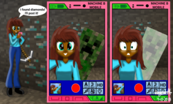 Size: 2600x1556 | Tagged: safe, artist:wvdr220dr, oc, equestria girls, brown mane, camera, cellphone, comic, creeper, diamond, diamond ore, diamond pickaxe, explosion, female, games, happy, imfomaz os, iron pickaxe, meme, minecraft, miner, phone, pickaxe, scared, selfie, shovel, social media, stone, surprised