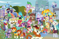 Size: 1280x853 | Tagged: safe, artist:dm29, apple bloom, apple rose, applejack, auntie applesauce, autumn blaze, big macintosh, chancellor neighsay, cozy glow, crackle cosette, derpy hooves, discord, firelight, flam, flim, fluttershy, gallus, goldie delicious, granny smith, jack hammer, lightning dust, maud pie, mudbriar, ocellus, pinkie pie, princess celestia, queen chrysalis, rainbow dash, rarity, rockhoof, sandbar, scootaloo, silverstream, smolder, spike, spitfire, starlight glimmer, stellar flare, sugar belle, sunburst, sweetie belle, terramar, trixie, twilight sparkle, yona, alicorn, changedling, changeling, classical hippogriff, draconequus, dragon, earth pony, griffon, hippogriff, kirin, pegasus, pony, seapony (g4), unicorn, yak, a matter of principals, a rockhoof and a hard place, fake it 'til you make it, friendship university, grannies gone wild, horse play, marks for effort, molt down, non-compete clause, road to friendship, school daze, sounds of silence, surf and/or turf, the break up breakdown, the end in friend, the hearth's warming club, the maud couple, the mean 6, the parent map, the washouts (episode), what lies beneath, yakity-sax, adorabloom, adorasmith, alternate hairstyle, apple shed, awwtumn blaze, azurantium, backwards ballcap, baseball cap, big macintosh's yoke, bipedal, bow, camera, cap, cardboard maud, chair, chocolate, classroom, clothes, cloven hooves, construction pony, cosplay, costume, cowboy hat, cozybetes, cute, cutealoo, cutefire, cutehoof, cutie mark, cutie mark crusaders, diaocelles, diapinkes, diastreamies, diasweetes, diatrixes, director spike, director's chair, discute, disguise, disguised changeling, dragoness, dunce hat, dustabetes, edgelight glimmer, eea rulebook, empathy cocoa, eyepatch, eyepatch (disguise), eyes on the prize, female, filly, fishing rod, flim flam brothers, fluttergoth, flying, food, gallabetes, geode, glimmer goth, gold horseshoe gals, hair bow, hat, helmet, hipstershy, hot chocolate, i mean i see, it's 