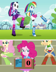 Size: 1272x1640 | Tagged: alicorn, applejack, edit, edited screencap, equestria girls, equestria girls (movie), fluttershy, football, kinda one-sided isn't it, ouch, pinkie pie, rainbow dash, safe, screencap, space jam, sports, twilight sparkle, twilight sparkle (alicorn)