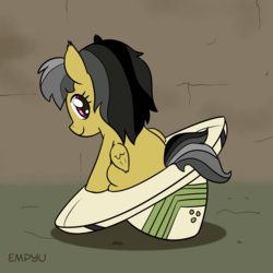 Size: 1000x1000 | Tagged: safe, artist:empyu, daring do, pegasus, pony, 30 minute art challenge, cute, daring dorable, female, filly, folded wings, hat, looking at you, looking back, looking back at you, sitting, smiling, solo, wings, younger