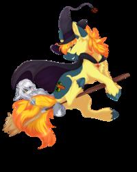 Size: 1400x1746 | Tagged: safe, artist:requiem♥, oc, oc:miyuki, oc:yaktan, ocelot, pony, blue eyes, blue fur, brush, cheek fluff, clothes, commission, costume, cutie mark, duo, fear, feline, female, flying, grey fur, happy, hat, hooves, male, orange mane, simple background, straight, tail, transparent background, witch, witch hat, yellow eyes, yellow fur, yellow mane