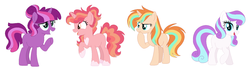 Size: 1642x470 | Tagged: safe, artist:geekcoffee, artist:strawberry-spritz, oc, oc only, oc:aurora apple, oc:shiny star, oc:sunrise confetti, oc:violet parfait, earth pony, pony, unicorn, base used, female, freckles, grin, hoof on chin, magical lesbian spawn, mare, next generation, offspring, parent:applejack, parent:cheerilee, parent:coco pommel, parent:pinkie pie, parent:rarity, parent:starlight glimmer, parent:sunburst, parent:twilight sparkle, parents:cheerilight, parents:glimmerjack, parents:marshmallow coco, raised hoof, simple background, smiling, white background