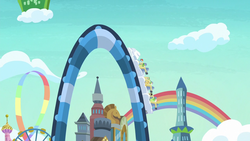 Size: 1280x720 | Tagged: safe, screencap, apple rose, auntie applesauce, goldie delicious, granny smith, rainbow dash, cat, pony, grannies gone wild, equestria land, gold horseshoe gals, las pegasus, rainbow, rollercoaster, wild blue yonder
