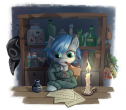 Size: 1240x1080 | Tagged: artist:vyazinrei, bookshelf, bouquet, candle, clothes, colt, green eyes, male, medication, merchant, nibpen, parchment, plague doctor mask, pony, safe, simple background, sitting, sweater, table, transparent background