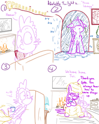 Size: 1280x1611 | Tagged: adorkable, adorkable twilight, alicorn, artist:adorkabletwilightandfriends, blanket, caring, comic, comic:adorkable twilight and friends, cute, dork, dragon, family, fire, fireplace, friendship, hilarious in hindsight, lineart, love, mug, pillow, pony, rain, safe, slice of life, spike, storm, twilight sparkle, twilight sparkle (alicorn), wet, wet mane