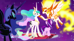 Size: 1440x809 | Tagged: alicorn, armor, a royal problem, daybreaker, dream, dream walker celestia, ethereal mane, female, flying, mane of fire, mare, nightmare moon, pony, princess celestia, quartet, safe, screencap, self ponidox, starlight glimmer, swapped cutie marks, unicorn