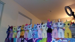 Size: 4160x2340 | Tagged: safe, artist:ponylover88, applejack, fluttershy, pinkie pie, princess cadance, princess celestia, princess luna, rainbow dash, rarity, songbird serenade, starlight glimmer, sunset shimmer, tempest shadow, trixie, twilight sparkle, my little pony: the movie, build-a-bear, collection, female, irl, photo, plushie