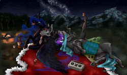Size: 4300x2553   Tagged: source needed, safe, artist:holka13, king sombra, nightmare moon, queen chrysalis, alicorn, changeling, changeling queen, pony, unicorn, alcohol, alternate hairstyle, boombox, broken horn, campfire, chrysombramoon, fangs, female, horn, lying down, male, night, on back, realistic, shipping, sombramoon, spread wings, stars, straight, wings