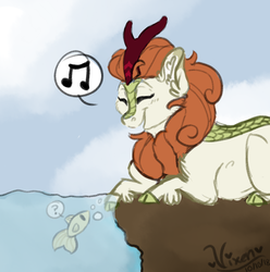 Size: 1188x1200 | Tagged: safe, artist:vixenwolf123, autumn blaze, fish, kirin, sounds of silence, eyes closed, music notes, pictogram, prone, question mark, signature, singing