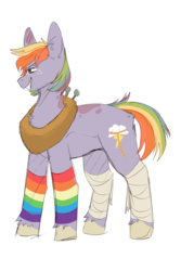 Size: 1024x1536 | Tagged: safe, artist:little-macrophage, oc, oc only, oc:apple sorbet, earth pony, pony, bandage, clothes, female, freckles, mare, offspring, parent:big macintosh, parent:rainbow dash, parents:rainbowmac, rainbow hair, rainbow socks, simple background, socks, solo, striped socks, transparent background, unshorn fetlocks, yoke