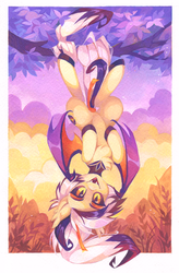 Size: 1537x2341 | Tagged: artist:lispp, bat pony, bat pony oc, hanging upside down, looking at you, oc, oc:fever dream, oc only, pony, safe, solo, traditional art, upside down, watercolor painting