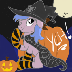 Size: 2100x2100 | Tagged: safe, artist:lannielona, pony, spider, advertisement, cape, clothes, commission, female, halloween, halloween costume, hat, holiday, jack-o-lantern, mare, nightmare night, one eye closed, pumpkin, sketch, socks, solo, striped socks, wink, witch, witch hat, your character here