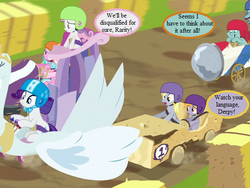 Size: 600x450 | Tagged: angry, applewood derby, cart, crackle pop, cropped, derpy hooves, dialogue, diamond tiara, edit, edited screencap, helmet, pony, rarity, safe, screencap, snips, snips' dad, speech bubble, sweetie belle, the cart before the ponies, vehicle