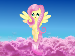 Size: 2743x2057 | Tagged: safe, artist:silversthreads, fluttershy, pegasus, pony, cloud, cute, flying, shyabetes, solo