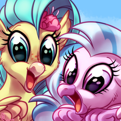 Size: 1800x1800   Tagged: safe, artist:whitediamonds, princess skystar, silverstream, classical hippogriff, hippogriff, my little pony: the movie, commission, cousins, cute, diastreamies, duo, female, looking at you, open beak, skyabetes, smiling, sweet dreams fuel, weapons-grade cute, whitediamonds is trying to kill us