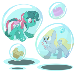 Size: 3700x3450   Tagged: safe, artist:bladedragoon7575, derpibooru exclusive, derpy hooves, fizzy, g1, 35th anniversary, bubble, bubble blower, cake, cute, derpabetes, fizzybetes, floating, food, g1 to g4, generation leap, in bubble, muffin, simple background, soap bubble, transparent background