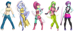 Size: 4750x2029 | Tagged: armpits, artist:danmakuman, barefoot, belly button, breasts, busty indigo zap, busty lemon zest, busty sour sweet, busty sugarcoat, busty sunny flare, cheongsam, cleavage, clothes, commission, dress, edit, equestria girls, eyeshadow, feet, female, fingerless gloves, flats, front knot midriff, gloves, hand on hip, high heels, indigo zap, lemon zest, looking at you, makeup, martial arts, midriff, non-shipping, open mouth, pants, raised eyebrow, raised leg, safe, shadow five, shoes, sideboob, side slit, simple background, sleeveless, smiling, socks, sour sweet, sports bra, stupid sexy lemon zest, sugarcoat, sunny flare, thigh highs, whip, white background