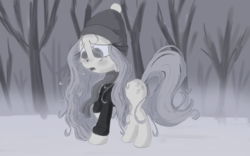 Size: 4000x2500   Tagged: safe, artist:sweetbrew, fluttershy, pegasus, pony, clothes, cross-eyed, female, folded wings, grayscale, hat, looking at something, mare, monochrome, no pupils, open mouth, outdoors, raised hoof, scarf, snow, snow on nose, solo, standing, stray strand, sweater, sweatershy, wings, winter, winter outfit