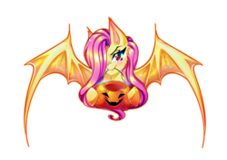Size: 4092x2893 | Tagged: safe, artist:minamikoboyasy, fluttershy, bat pony, pony, female, flutterbat, halloween, holiday, jack-o-lantern, looking at you, mare, pumpkin, race swap, simple background, solo, transparent background