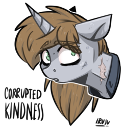 Size: 2962x3042 | Tagged: artist:lrusu, bust, clothes, fallout equestria, fanfic, fanfic art, female, floppy ears, horn, mare, oc, oc:littlepip, oc only, pony, portrait, safe, scar, simple background, solo, text, unicorn, vault suit, white background