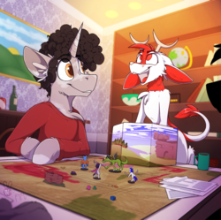 Size: 1438x1434 | Tagged: anthro, antlers, artist:meggchan, artist:ralek, chest fluff, collaboration, curly hair, cute, d20, dice, dragon, dungeons and dragons, fox, furry, globe, jackalope, male, mug, oc, oc:dot, oc:idle thoughts, oc only, oc:sunny sheila, oc:turquoise, oc:umami stale, offscreen character, original species, paws, pen and paper rpg, rpg, safe, semi-anthro, smiling, sweatshirt, unicorn, wizard