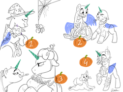 Size: 1280x954   Tagged: safe, artist:rutkotka, oc, cat, spider, timber wolf, advertisement, candy, clothes, commission, costume, female, filly, food, funny, halloween, holiday, male, mare, mother, pumpkin, skeleton costume, spider web, stallion, surgeon, witch, your character here