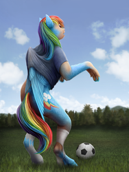 Size: 750x1000 | Tagged: artist:geoffrey mcdermott, clothes, football, human to pony, looking back, open mouth, pegasus, pony, rainbow dash, safe, shirt, socks, solo, sports, standing, torn clothes, transformation, wings