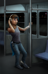 Size: 650x1000 | Tagged: artist:geoffrey mcdermott, bus, clothes, dj pon-3, headphones, human, human to pony, music player, night, open mouth, pants, pony, ripping clothes, safe, shoes, solo, standing, tanktop, train, transformation, unicorn, vinyl scratch